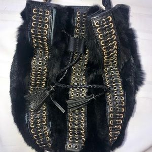 Rebecca Minkoff leather and fur Chase bucket bag